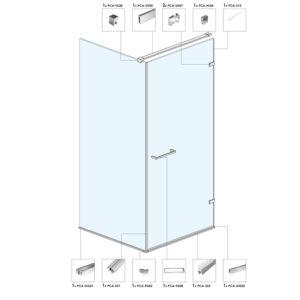 Угловая душевая кабина с распашной дверью A03