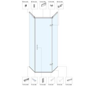 Асимметричная душевая кабина с распашной дверью B02