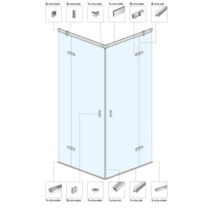 Угловая душевая кабина с распашными дверьми B09