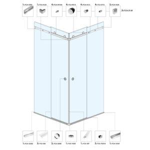 Угловая душевая кабина с раздвижными дверьми ST02