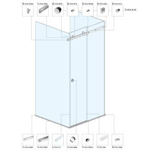 Квадратная душевая кабина с раздвижной дверью ST04
