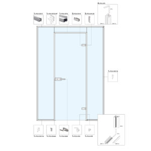 Распашная дверь в перегородке с фрамугой и глухими частями A8