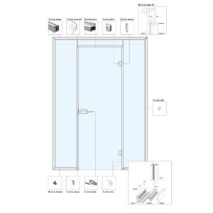 Распашная дверь в перегородке с фрамугой и глухими частями A9