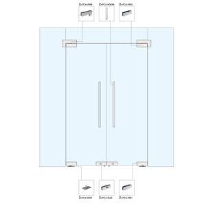 Распашные двери с фрамугой и глухими частями для перегородки WR107