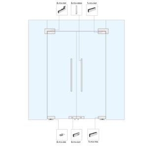 Распашная дверь с фрамугой и глухими частями для перегородки WR207