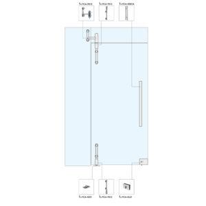 Распашная дверь с фрамугой и глухой частью для перегородки WS104