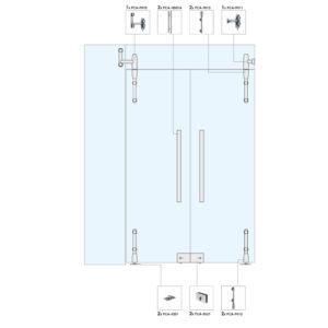Распашные двери с фрамугой и глухой частью для перегородки WS105