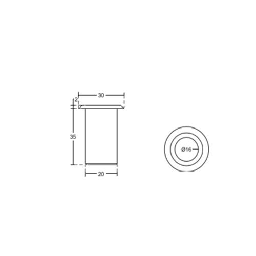 Ответная часть в пол с подпружиненной крышкой Ø30 мм, KP03