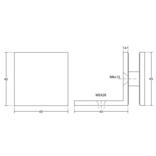 Коннектор для крепления стекла 90 градусов, стекло-стена, GC40