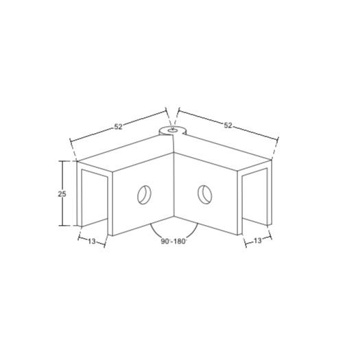 Коннектор регулируемый без вырезов в стекле, 90-180 градусов, стекло-стекло, GC41