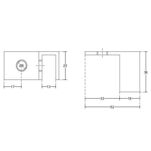 Коннектор регулируемый без вырезов в стекле 90 градусов, стекло-стена, левый, GC42L