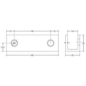 Коннектор регулируемый без вырезов в стекле 180 градусов, стекло-стекло, GC43