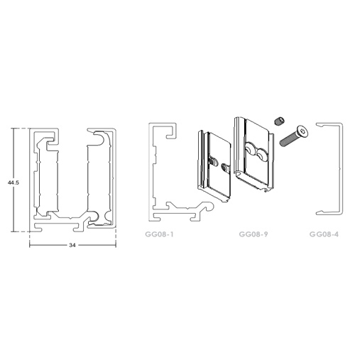 Зажимной алюминиевый профиль для стекла 8, 10, 12 мм, GG08