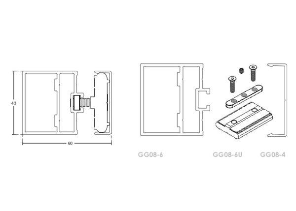 Алюминиевый профиль вертикальной опорной стойки, GG08-U