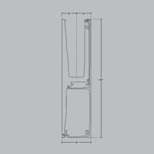 Профиль GM06 для стеклянных ограждений 200х49мм