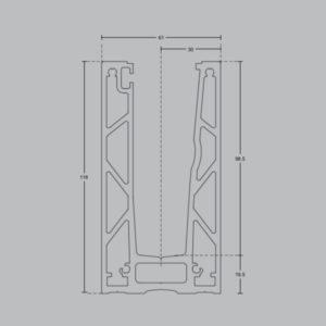 Профиль для стеклянных ограждений с Led подсветкой 118х61 мм GM08 схема