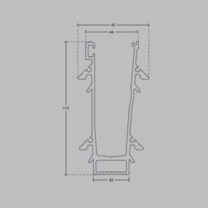 Профиль для стеклянных ограждений с Led подсветкой 113х61 мм GM09