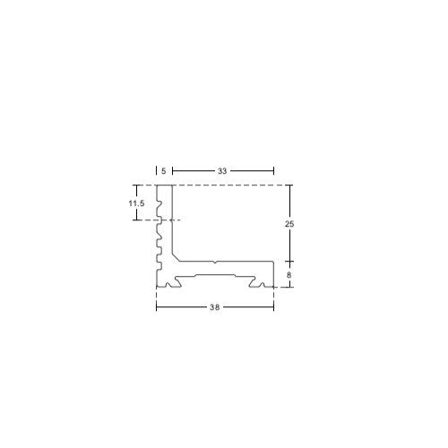 Монтажный уголок для раздвижной системы PCA-GT04 и PCA-GT05, HL15