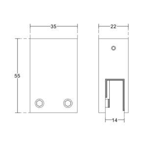 Держатель на потолок труба-стекло, для душевой системы, HL45