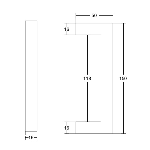 Дверная ручка скоба МИНИ, длина 150 мм, PH01