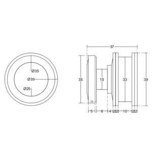 Каретка на плоскую трубу для душевой раздвижной системы, RH18