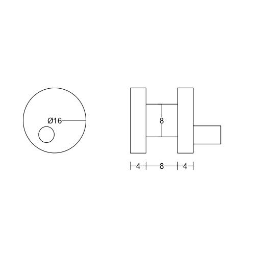 Опора ограничитель на плоскую трубу для душевой раздвижной системы, RH18A