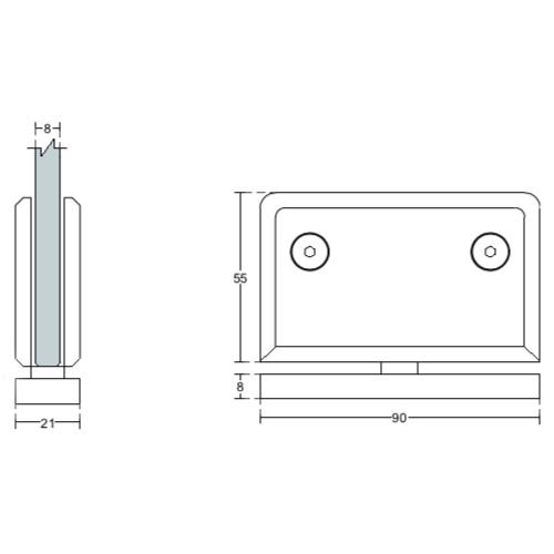 Петля пол-потолок-стекло 90 градусов, SH20