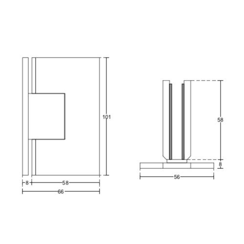 Петля стена-стекло, двустороннее крепление, (Brass-Латунь), SH49