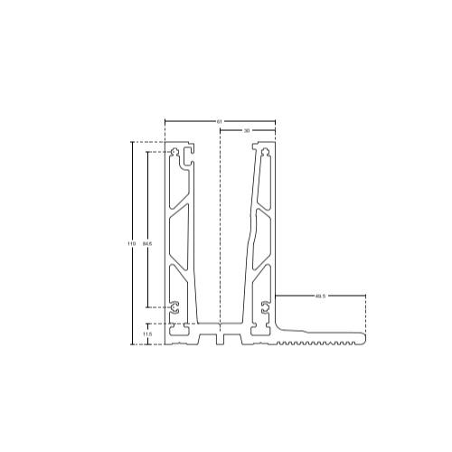 Профиль для стеклянных ограждений (усиленный, с боковой монтажной площадкой), GM01-S
