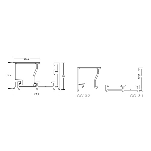 Зажимной алюминиевый профиль для перегородок, GG13